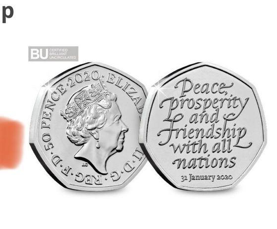 10 monet  50 pence pensów BREXIT 2020 Anglia funty
