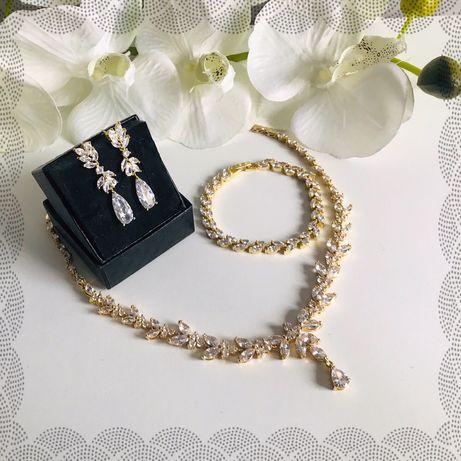 Kolczyki,bransoletka i naszyjnik w kolorze złota ślub wesele