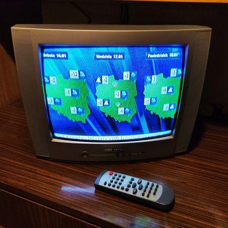 "Telewizor CRT 14"" z pilotem,  retro, konsola, PS1 Commodore 64"