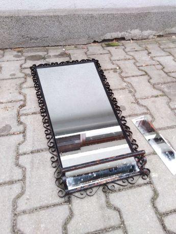 Stare lustro z PRL metalowa rama Loft industrial