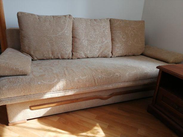 Łóżko rozkładane tapicerowane z pojemnikiem na pościel