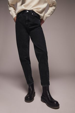 Zara джинсы темно синие 32 mom