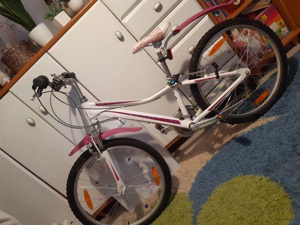 Rower damski 24 biało rozowy