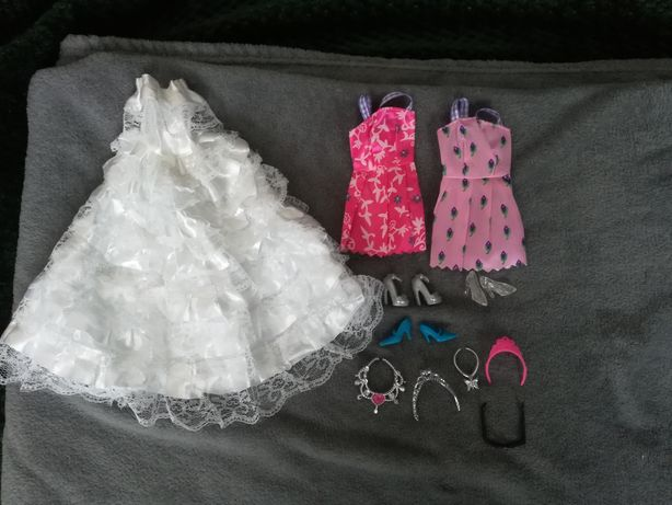 Nowy zestaw ubrań dla lalki Barbie i nie tylko, biała suknia ślubna