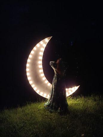 Podświetlany księżyc, ślub, wesele, sesja zdjęciowa