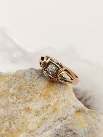 Stary Złoty Pierścionek z brylantem Złoto 585 Brylant naturalny 0,34ct