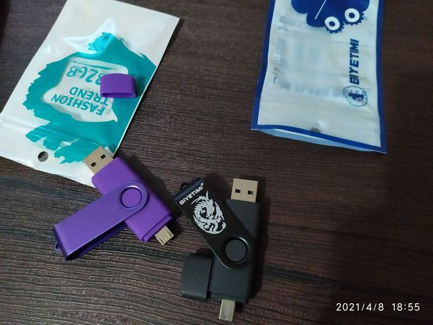 Продам флешки 32 гб USB на mini USB 2 в 1