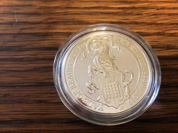 Чудовища звери королевы Британия 5 фунтов 2 унции серебра