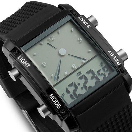 Relógio Quatzo Dual Time LCD Digital Data Alarm Cronógrafo LED