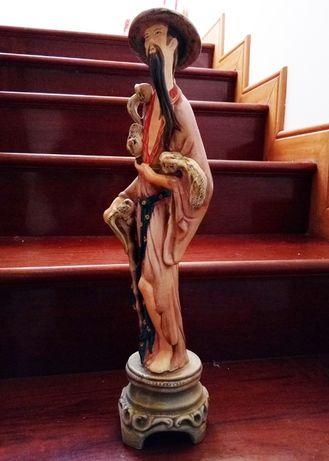 Estatueta de cerâmica oriental (49 cm, vintage sem danos)