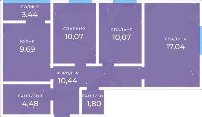 Просторная 3-х комнатная квартира, дом сдан