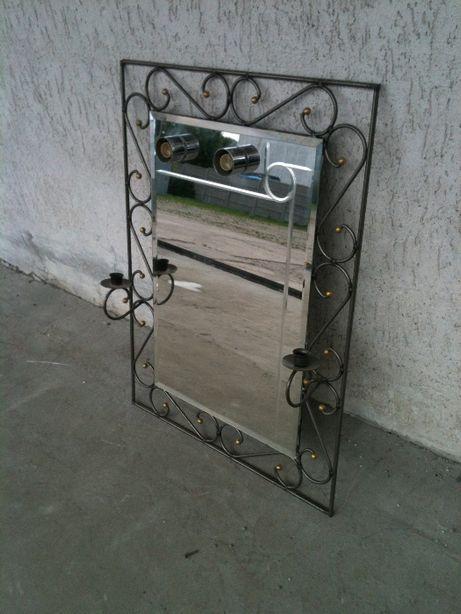 lustro z metalowa ramą