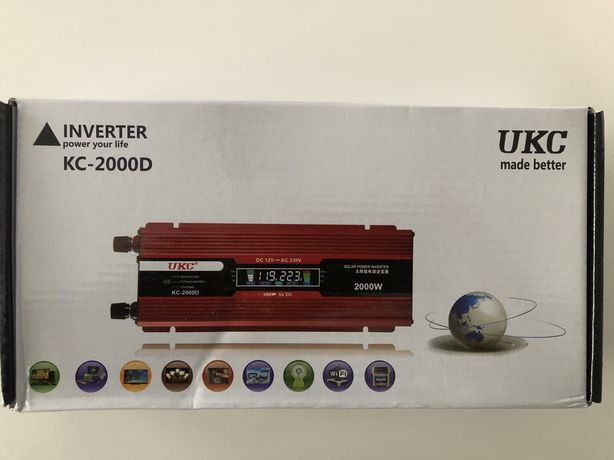 Инвертор Преобразователь Напряжения 12/220 V 2000W DC/AC с LCD экраном