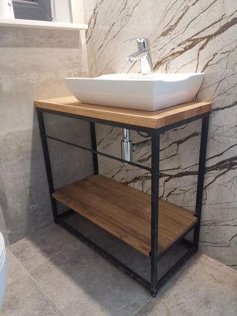 Szafka łazienkowa pod umywalkę. Drewno dębowe. Uchwyt na ręczniki.