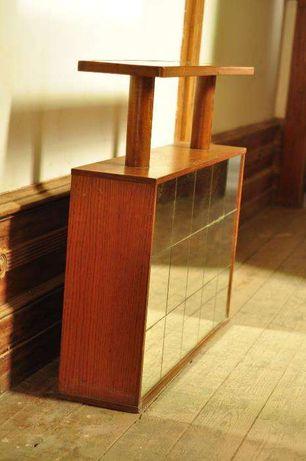 Móvel bar vintage espelhado em castanho - urgente