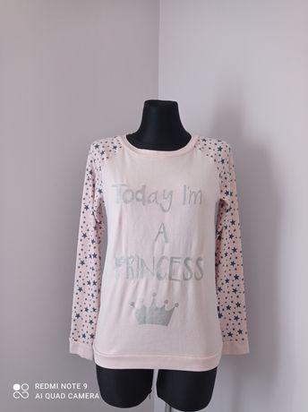 Pudrowo różowa bluzka damska na długi rękaw góra od pidżamy rozmiar S