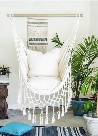 Fotel wiszący z poduszkami MOCNY 100x100 krzesło brazylijski hamak hus