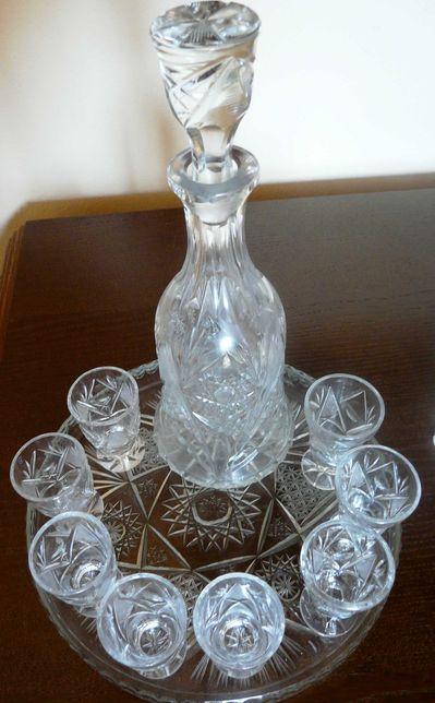 Karafka + kieliszki+ taca, szkło kryształowe