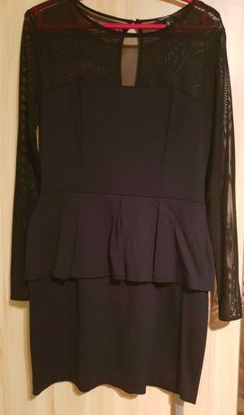 mango sukienka czarna siateczka baskinka wesele impreza r. 36 jak nowa