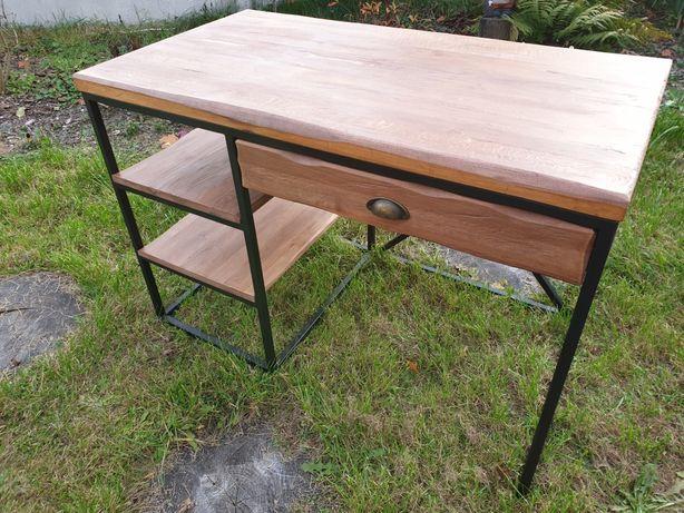 Biurko industrialne/loft z pojemna szufladą. Lite drewno.