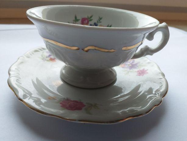 filiżanka że spodkiem, stara polska porcelana, Bogucice, Waałbrzych