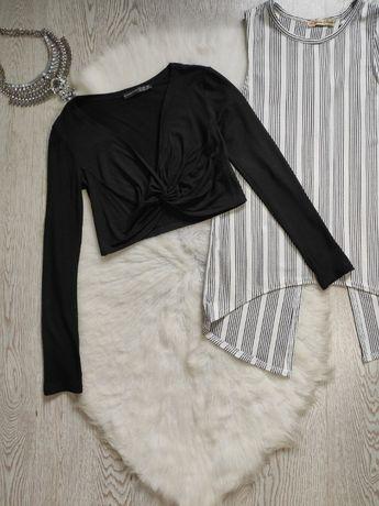 Черный натуральный кроп топ длинный рукав короткая футболка с узлом сп