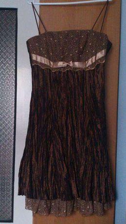 Brązowa sukienka 38 koronka studniówka wesele karnawał