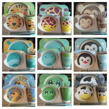 Набор детской бамбуковой посуды 5 предметов эко бамбук,стекло герои