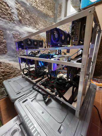 Rig Mineração Ethereum 715 MH/s  (1550€/mês)  (5x3080 + 4x3070)