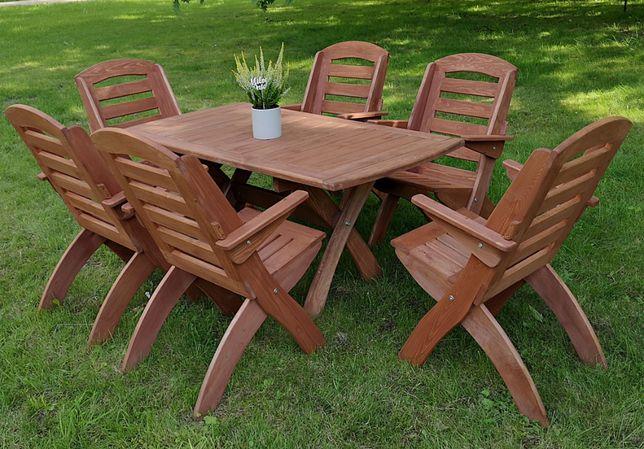 Meble ogrodowe drewniane tarasowe składane komplet typ X lamel nr 1
