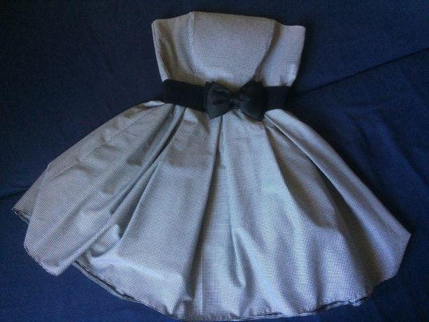 Sukienka w kratkę biało-czarną, pepitkę. Rozm. 38. Jak nowa.