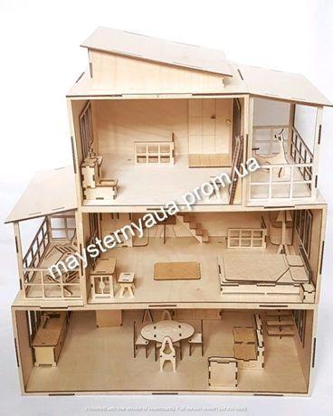 Кукольный домик с мебелью. Деревянный дом для кукол