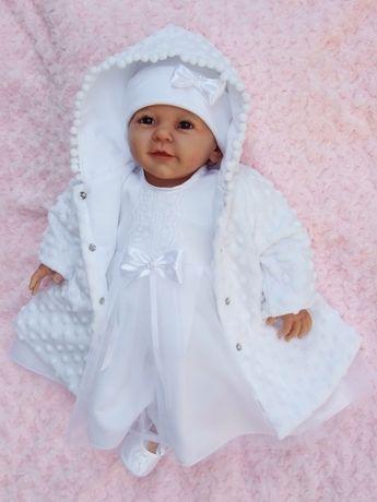 Ubranko do chrztu - płaszczyk, sukienka. Gratis: buciki niechodki