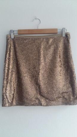 Sinsay spódniczka M 38 złota cekiny impreza