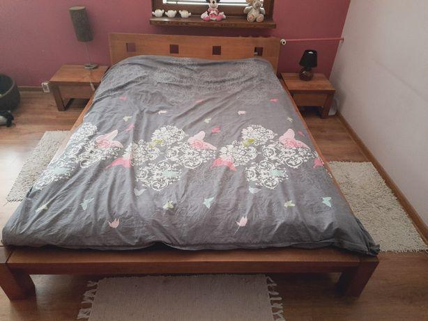Łóżko lite drewno egzotyczne 160x200 boho + 2 szafki nocne