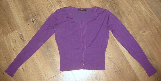 GIVE ME sweter sweterek damski narzutka fioletowy fiolet retro M L