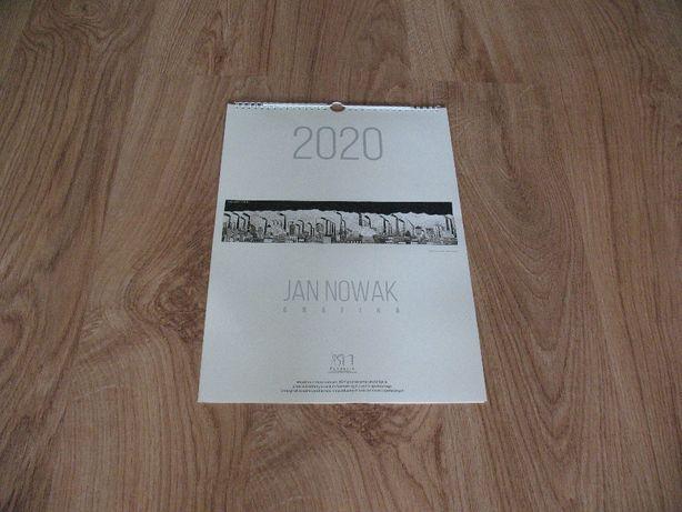 Kalendarz ścienny 2020, Jan Nowak, grafika-linoryt
