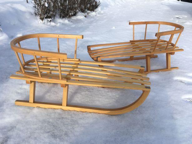 Nowe Drewniane Sanki z okuciem i oparciem Rzeszów