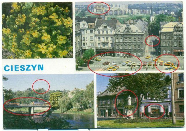 """Cieszyn Rynek Dom Narodowy Most przyjaźni Sklep """"Bagietka"""" Pocztówka"""