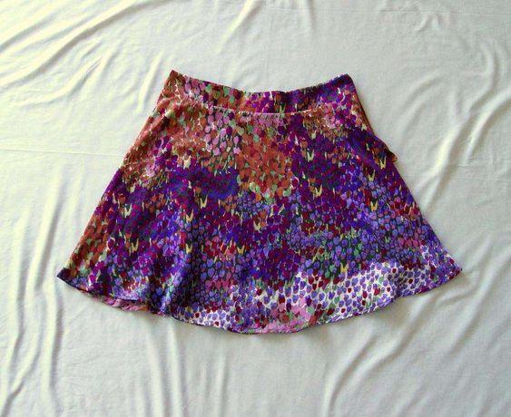 rozkloszowana kolorowa niebieska wzorzysta fioletowa spodniczka 36 S M