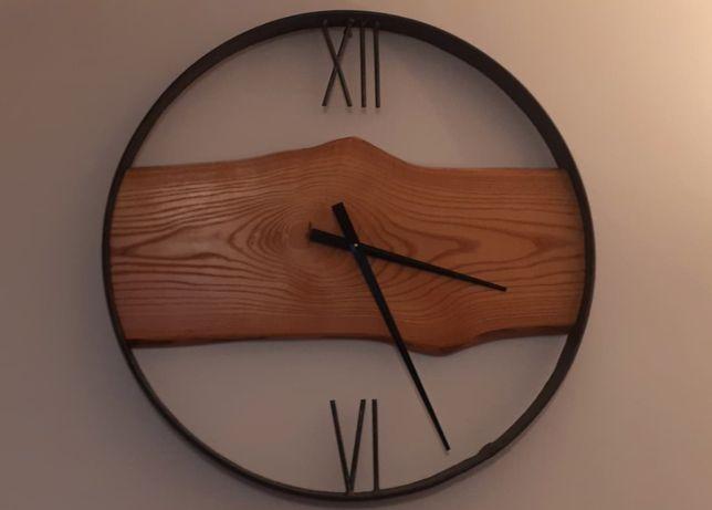 Zegar w obręczy ze starego kola loft rękodzieło 80CM