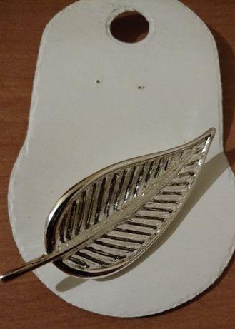 Broszka liść - stal niklowana, 6,5 cm