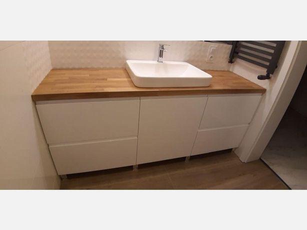 Szafka pod umywalkę drewniany blat dębowy, meble łazienkowe na wymiar