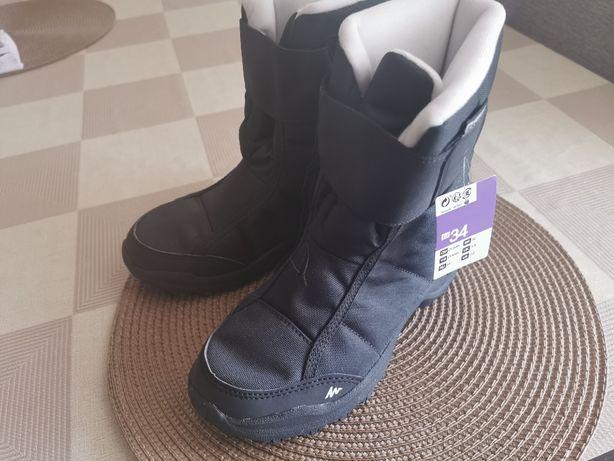 Buty zimowe rozm. 34 dla chłopca, nowe, wodoodporne