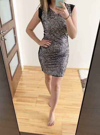 Top Secret sukienka imprezowa cekiny srebrna L