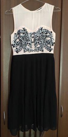 Нарядное чёрное с розовым платье отWarehouse, XS