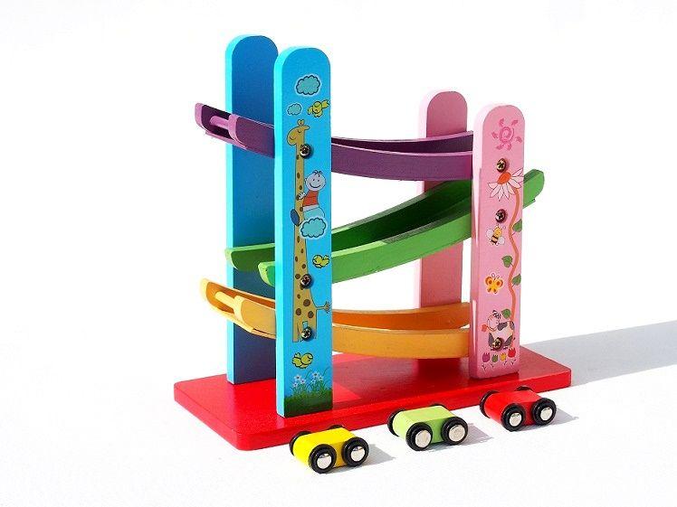 drewniana ZJEŻDŻALNIA Z AUTKAMI zabawka edukacyjna