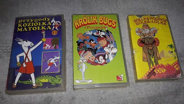 Kasety VHS bajki Bolek i Lolek, Królik Bugs, Koziołek Matołek