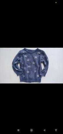 Rebel świetny sweter sweterek tłoczone gwiazdy 86cm vint