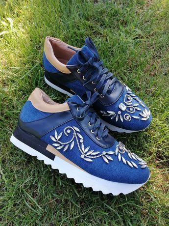Кроссовки кросівки джинс с камнями стразами в стиле dolce gabbana
